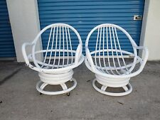 TLC Pair Bamboo Swivel Lounge Chairs 2 Clam Hollywood Regency Rattan MCM Patio