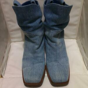 CHANEL Denim Western Boots Heel Shoes COCO CC Women's EU 38 Vintage From Japan