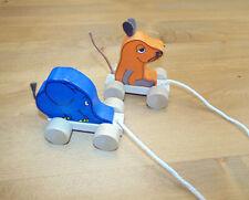 Die Maus  - Maus und Elefant aus Holz zum nachziehen