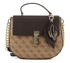 GUESS Cross Body Bag Top Handle Flap Brown