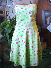 Ladies Strapless Dress Goodclothes SZ 12 Lime Bright Green Circle Print Cotton