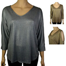PLUS SIZE JERSEY SHIMMER COLD SHOULDER BATWING TOP, GOLD & SILVER, Sizes 16-30