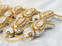 18 Handmade Glass Christmas Tree Bird Doves Ornaments Mirror Diamonds Gold Chain