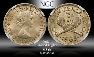 1963 NEW ZEALAND 3 PENCE NGC MS66 ONLY 1 GRADED HIGHER #D