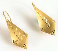 VINTAGE 14K YELLOW GOLD FINE FASHION GEOMETRIC SHAPE HAND CHASED EARRINGS !