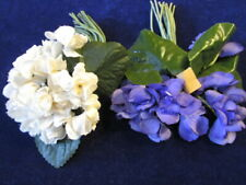 "Vtg Millinery Flower Collection Violets Purple Cream 1 1/2-2"" Double German Uh2"