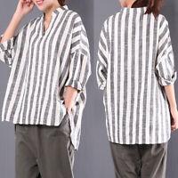 ZANZEA Womens Plus Size Striped Shirt Tee Top Loose Baggy Long Sleeve Blouse