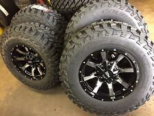 "MO970 17x9 Black Machined Wheels Tires Package 5x139.7 5x5.5 33"" MT Dodge Ram"
