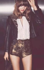 Free People Time To Shine Shorts Sequins Bronze Small