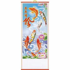 Chinese Printed Picture~Scroll~ Hanging~Feng Shui~Carp & Lotus~606~uk seller