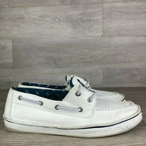 Sperry Top Sider Mens White Boat Shoes Size 9.5 M