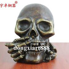 13 cm Weatern Bronze Smoking a cigar Skull abstract Figurines Art deco Sculpture
