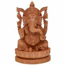 Lord Ganesh Elephant Head Ganpati Wood Idol Handmade Shiva Deepawali Laxmi India