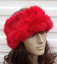 bright red real genuine rabbit fur pelt ear warmer headband unisex hat