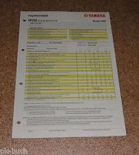 Inspektionsblatt Yamaha VP 250 Typ SG191 Baujahr 2008