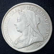 1897 UK Retro Pattern Proof Crown Nickel Silver  Queen Victoria Coin