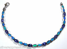Tanzanite & Blue Fire Opal Inlay 925 Sterling Silver Link Tennis Bracelet 7-8''