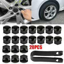 20pcs 17mm Car Wheel Black Plastic Nut Cover Bolt Cap Universal Locking+Tool