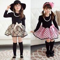 Cotton Kids Baby Girls Dress Bow Tutu Polka Dot Plaid Party Formal Dresses 2-7Y