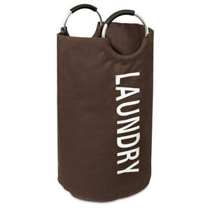 """Brand New  BIRDROCK HOME """"Oxford"""" Round Metal Ring Handle Laundry Bag in Brown"""