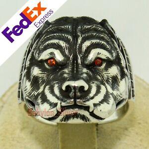 Pitbull Dog Bulldog Retro Gothic Biker 925 Sterling Silver Men's Ring All Sizes