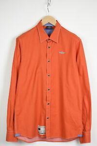 AERONAUTICA MILITARE Men's LARGE Rigid Plain Orange Casual Shirt 35202_GS