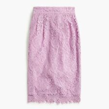 NWT  J. Crew Pintucked pencil skirt in lace vivid lilac 6 $98 F8860