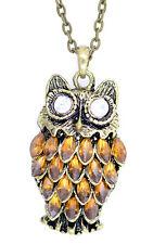 Art Deco vintage style bronze orange owl charm necklace