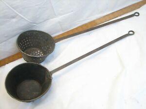 Primitive Antique Blacksmith Hand Forged Larger Butcher Dipper & Strainer Ladle