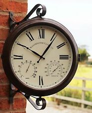Outdoor Garden Double Side Station swivel Bracket Clock temp & Humidity 52cm
