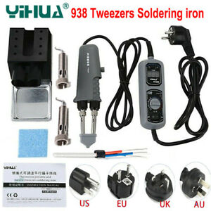 YIHUA 938D 110V 220V Portable Tweezer Electric Soldering Iron Station+ Heat core