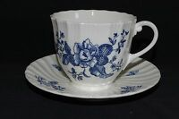 Royal Worcester England Blue Sprays Swirled Cup & Saucer