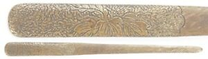 Antique Japanese Small Tonto Brass Kogai Samurai Sword Fitting Koshirae Kozuka