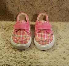 Toddler girl Teeney Toes pink plaid sneakers size 3W velcro