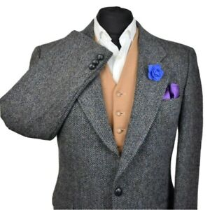 Harris Tweed Tailored Country Navy Blazer Jacket 40R - #124 SUPERB COLOURS