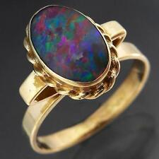 Vintage 1970's Oval 9k GOLD PRECIOUS OPAL TRIPLET HIGHER SETTING RING Sz K1/2