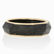 NEW David Yurman Torqued Faceted Forged Carbon Band - 18k Gold Ring Size 8 3/4