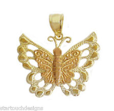 New 14k Two Tone Gold Butterfly Pendant