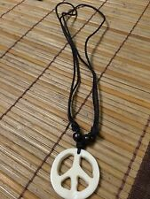 Blk Adjustable Cord Necklaces Peace Sign White Bone Necklace