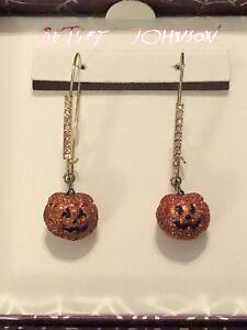 Betsey Johnson Dangling Halloween Glitter Pumpkin Earrings