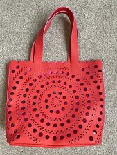 Elizabeth Arden Unique Red Openwork Tote Bag Shopping Travel Purse Handbag