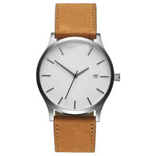 Brown Mens Stainless Steel Analog Wrist Watch Leather Date Army Quartz Watches