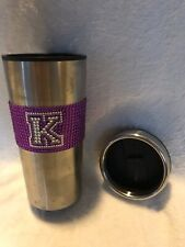 """Stainless Steel Thermal Cup With Purple Bling """"K"""" - Slide Opening On Top"""