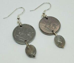 Chinese Jiao Coin Labradorite Sterling Silver Dangle Earrings