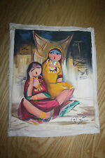ethnographic indian  1970s vintage painting of indian ladies on canvas  low cost