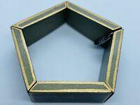 Vintage 1930s Art Deco Wood Link Bracelet- Geometric Pentagon White and Gold