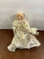 Resin Angel Hanging Tree Ornament White Satin Dress Glitter Lace Wings 10""