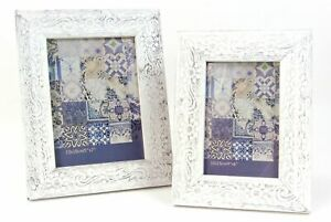 Photo Frame White Washed Carved Wooden Distressed Floral Swirl design 4X6 or ...