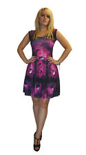 LADIES PURPLE PLANETS GALAXY PRINT ROCKABILLY SWING SLEEVELESS DRESS GOTH EMO