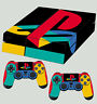 PS4 Skin PLAYSTATION LOGO CLASSIC PS COLOURS New Sticker + 2 X Pad decal Vinyl